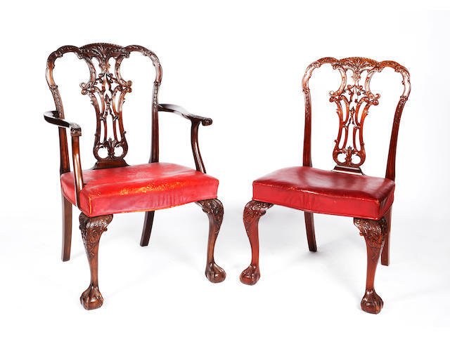 A set of ten Georgian style  carved mahogany dining chairs