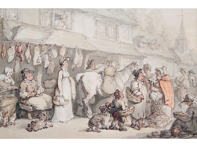 Thomas Rowlandson (British, 1756-1827) The butcher's shop