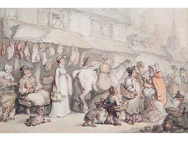 Thomas Rowlandson (British, 1756-1827) The butcher's shop