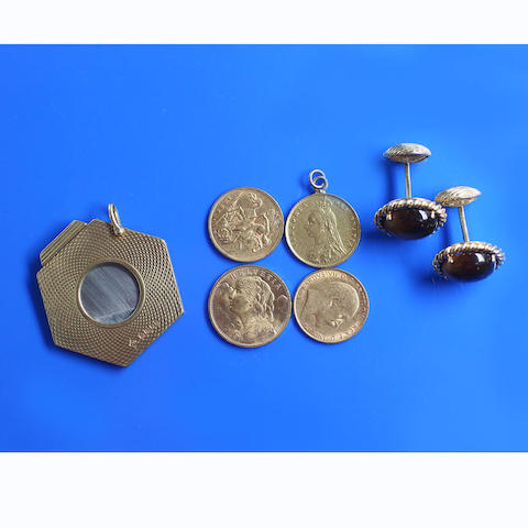 Switzerland: 20 francs, 1914; Victoria: a half sovereign, 1887, on soldered pendant mount; Edward VII: a half sovereign, 1908; George V: a half sovereign, 1925; together with a pair of cufflinks, the cabochon tiger's eye quartz in ropetwist mounts, to swivel backs, and an 18ct gold cigar cutter, on suspensory loop.