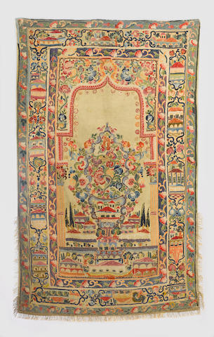 An Ottoman embroidered applique wool Prayer Panel with houses 19th Century