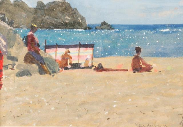 Ken Howard R.A. (British, born 1932) Figures on the beach