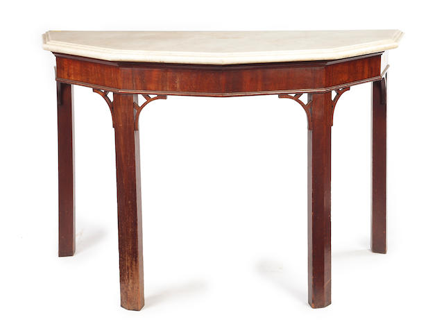 A George III mahogany and marble topped hall table