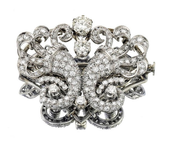 A mid 20th century diamond cornucopia brooch/earrings