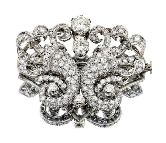 A mid 20th century diamond cornucopia brooch/earrings