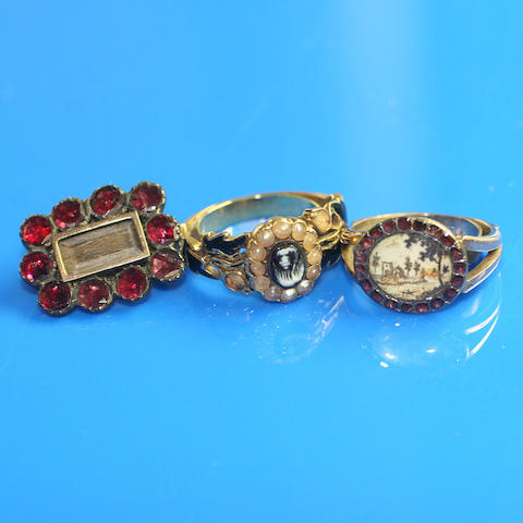 A collection of mourning jewellery (3)