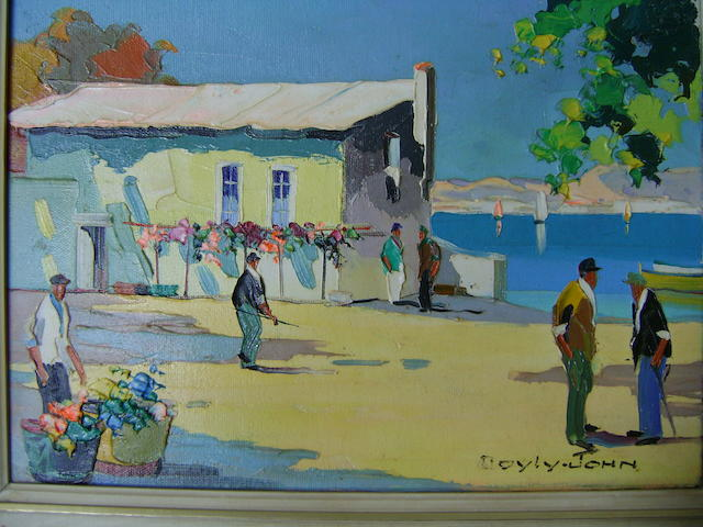 D'OYLY JOHN, Mediterranean fishing village with figures, 25cm x 34cm, another similar and a third by the same, two fishing vessels, oil on canvas offered with a hand written note by the artist dated 3rd November 1979 (3)
