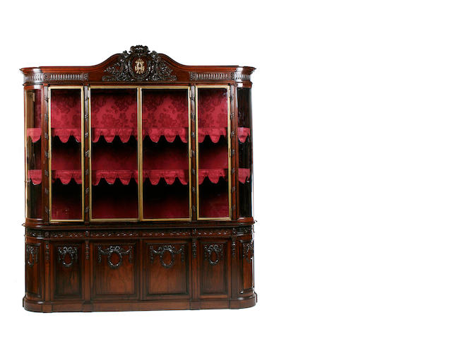 A large French late 19th century rosewood vitrine