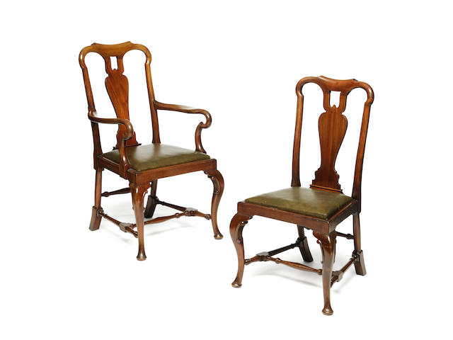 A set of Queen Anne style mahogany dining chairs