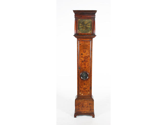 A late 17th/early 18th century figured walnut, floral marquetry and line inlaid longcase clock case with matched mid/late 18th century brass dial and thirty hour 'bird cage' movement