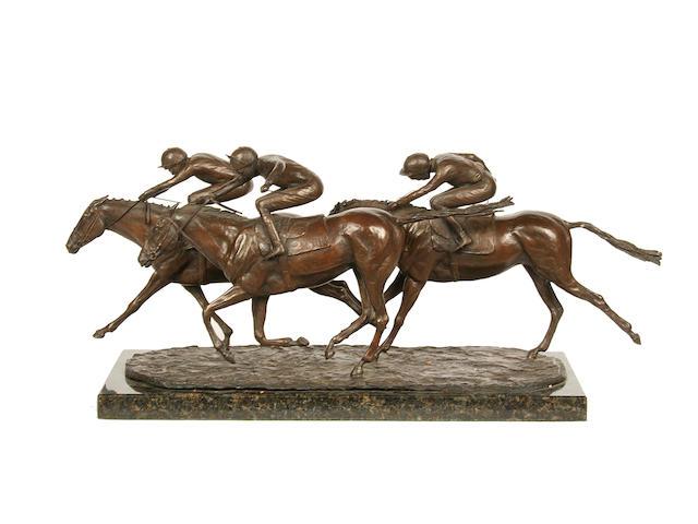 Robert Mickleburgh (English): A bronze racing group 'Push to the Post'