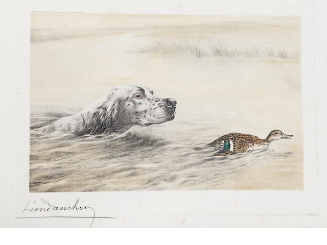 Leon Danchin (French, 1887-1939) Dog pursuing a duck up a stream colour etching, signed 'Leon Danchin' (lower left) and number 289/500 (lower right), unframed, 27.5 x 38cm.