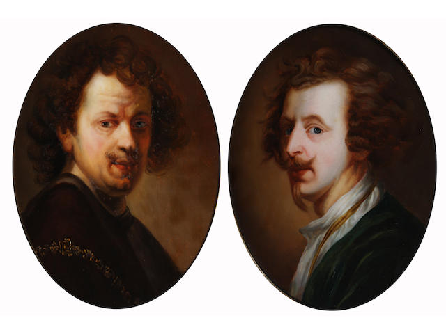 After Sir Anthony van Dyck 39.5 x 31cm (oval) and another self portrait after Rembrandt. (2)