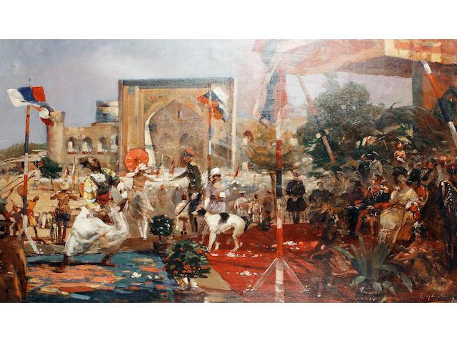 Bertalan (Bartholomaus) Vigh (Hungarian, 1890-1946) Parade day in Oriental Russia