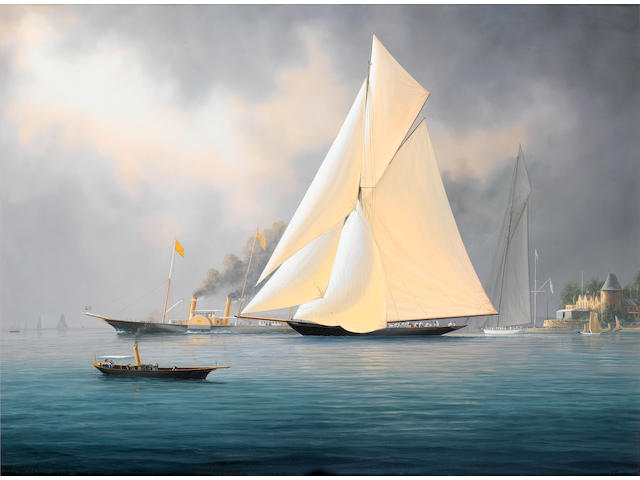 Timothy Franklin Ross Thompson (British, born 1951) Britannia and Vigilant off the Royal Yacht Squadron's headquarters, with the royal yacht Alberta outward bound from East Cowes beyond, 1894