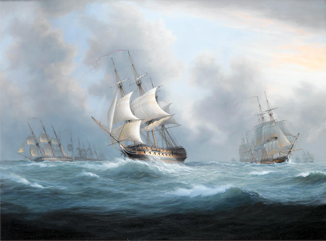 Timothy Franklin Ross Thompson (British, born 1951) A Squadron of the fleet at sea