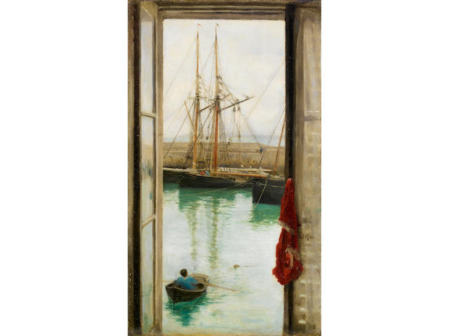 Henry Scott Tuke RA, RWS (British, 1858-1929) Harbour and young oarsman viewed from a window