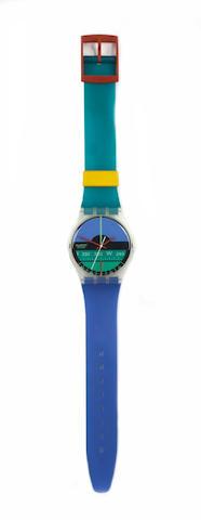 Two Swiss Swatch maxi wall clocks,  2