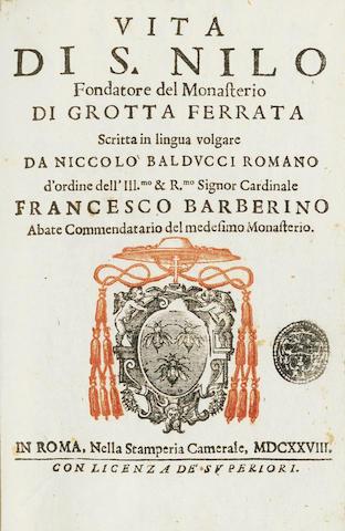 SAINTS and LIVES BALDUCCI (NICCOLO) Vita di S. Nilo, fondatore del monasterio di Grotta Ferrata