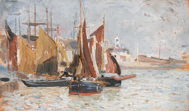 John Robertson Reid (British, 1851-1926) Three views of Ramsgate harbour and beach each 12.5 x 21.5cm (4 15/16 x 8 7/16in), (3).