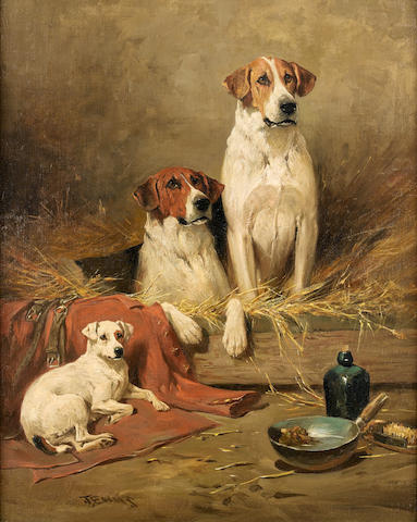 John Emms (British, 1843-1912) Foxhounds and a terrier