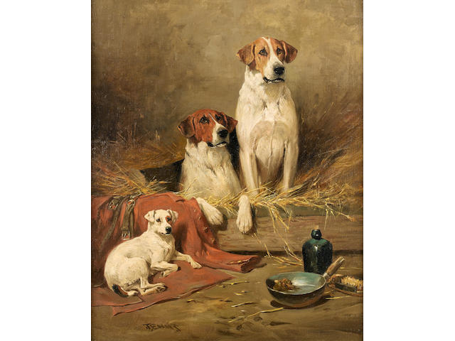 John Emms (British, 1843-1912) Foxhounds and a Terrier 21 1/4 x 17 1/4 in. (54 x 44 cm.)