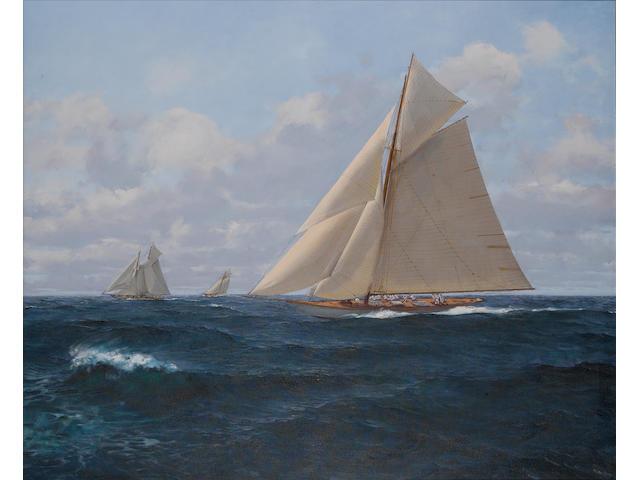 Mao Wen Biao (Chinese, born 1950) Racing yachts 111 x 137cm.