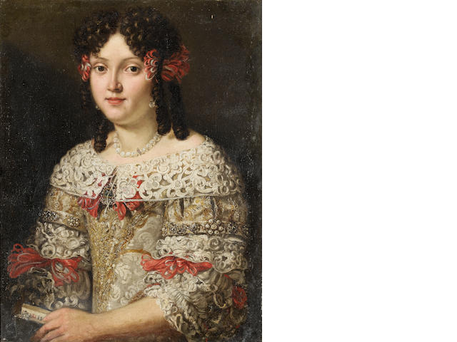 Circle of Pier Francesco Cittadini (Milan 1616-1681 Bologna) Portrait of a lady, half-length, with a silver dress and lace dentelle collar