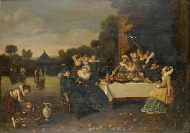 Circle of Esaias van de Velde (I) (Amsterdam 1587-1630 The Hague) Elegant figures in a garden, seated at a banquet