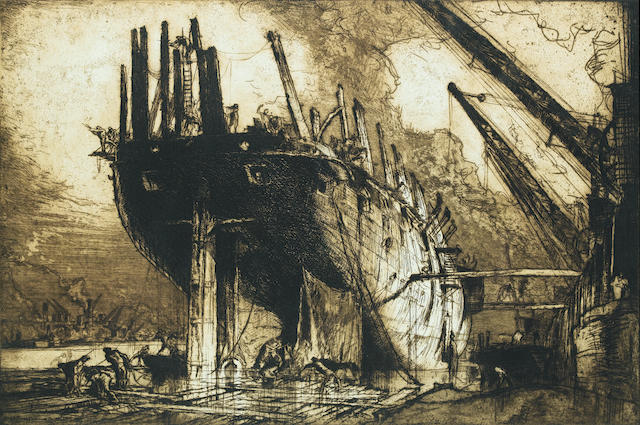 "Sir Frank Brangwyn, R.A. (British, 1867-1956) Breaking up the ""Duncan"" Etching, 1911, one of 125 proofs published, on thick wove with wide margins, signed in pencil, title in pencil lower right margin, 540 x 815mm (PL), in the original oak frame made by the artist"