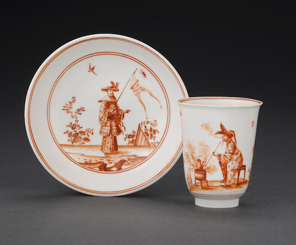 A very rare Meissen beaker and saucer circa 1723