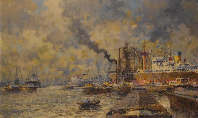 "Marinus Johannes (de Jongere) Drulman (Dutch, 1912-1977) The Port of Rotterdam. Oil on canvas, signed ""M de Jongere"" bottom right hand side. 23x39in(59x99cm)"