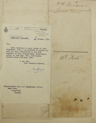 An interesting and unique volume of cuttings, documents and letters of Scottish regimental interest relating to Major General Sir Colin Mackenzie