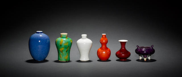 An interesting collection of 30 small or miniature, mainly monochrome, vases Qing Dynasty