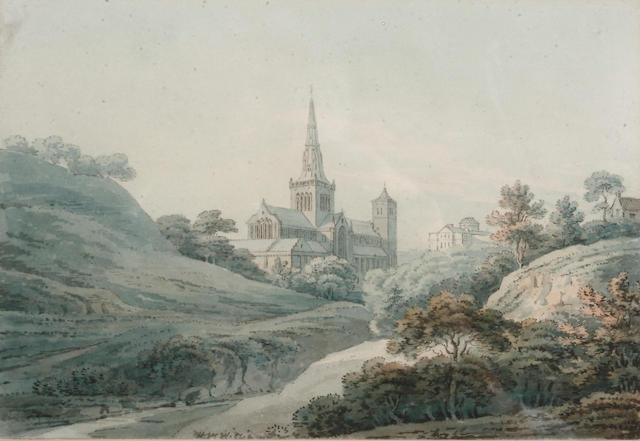 Hugh William Williams (British, 1773-1829) Glasgow Cathedral from the North East