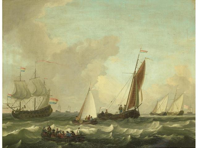Circle of Adam Silo (Amsterdam 1674-1757) Dutch shipping in choppy seas