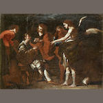 After Bernardo Cavallino The healing of Tobit by Tobias unframed