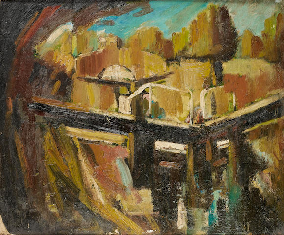 David Bomberg (British, 1890-1957) The canal lock 51 x 61.2 cm. (20 x 24 in.)