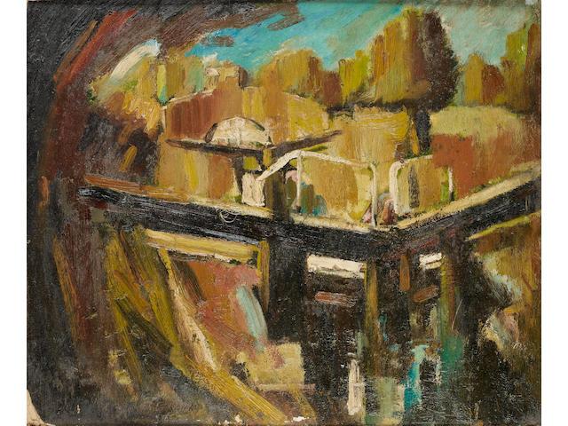 David Bomberg (British, 1890-1957) The canal lock 51 x 61.2 cm. (20 x 24 in.)