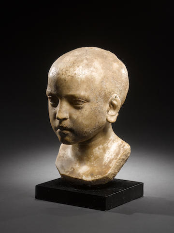 A Roman marble bust of a child