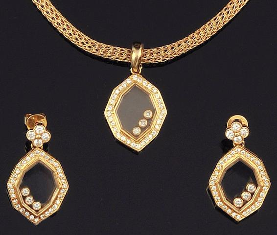 A pair of 18ct gold diamond earpendants and necklace