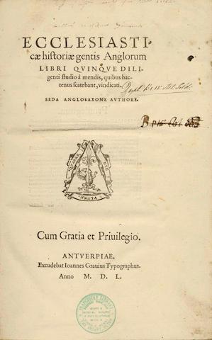 BEDE, The Venerable Ecclesiasticae historiae gentis Anglorum libri quinque... Beda Anglosaxone autho