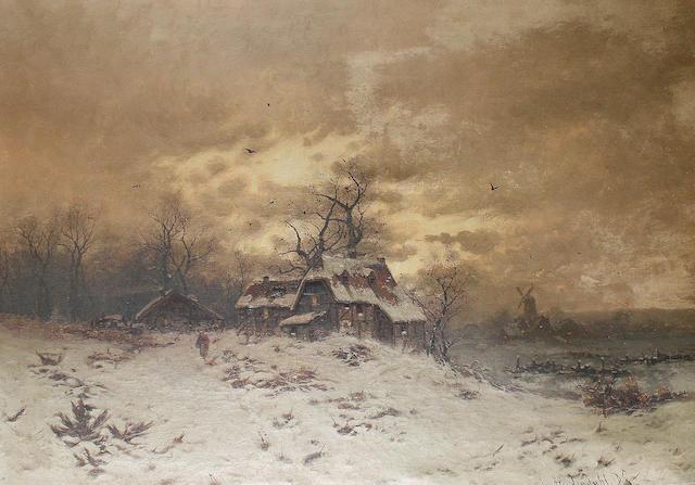 Friedrich Josef Nicolai Heydendahl (German, 1844-1906) Winter landscape
