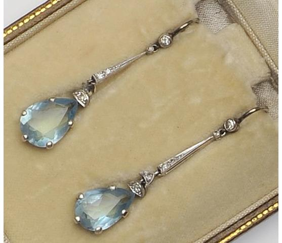 A pair of aquamarine and diamond drop earpendants
