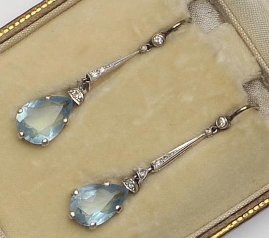 A pair of aquamarine and diamond drop earpendants