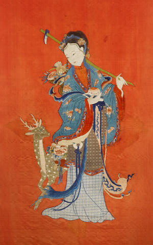 A large Chinese textile embroidered as Hsi-Wang-Mu, The Daoist Deity of the Western Paradise Qing Dynasty or later