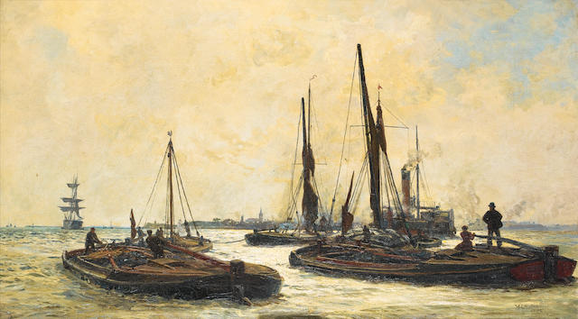 William Lionel Wyllie, R.A., R.E. (British, 1851-1931) Barges working their way up the estuary at twilight, heading for London docks