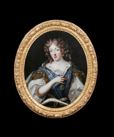 Circle of Henri Gascars (Paris 1635-1701 Rome) Portrait of a noblewoman, possibly Louise de la Vallière, half-length in a blue embroidered dress and white chemise, with an ermine trimmed wrap