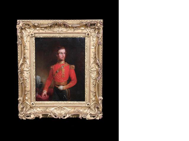 Ambrosini Jerome (British) Portrait of an officer of the Somerset Light Infantry, three-quarter length, in uniform