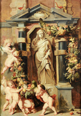 After Sir Peter Paul Rubens, 17th Century A statue of Ceres in a niche surrounded by putti with swags of fruit
